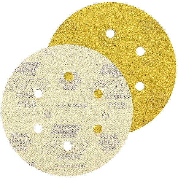 Caixa com 100 Disco de Lixa Pluma A296 Gold com 6 Furos Grão 150 152 x 0 x 6 mm
