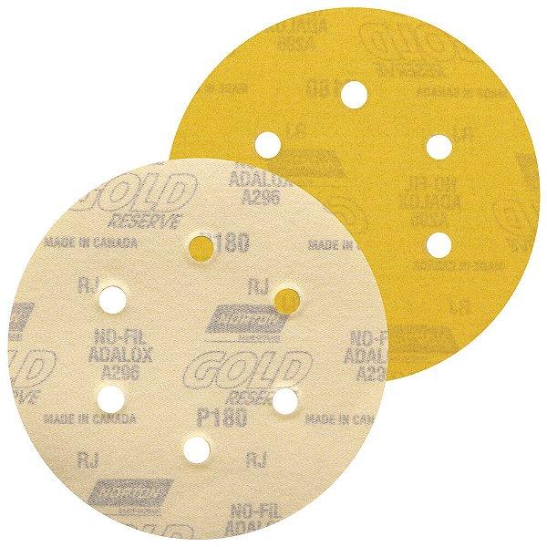 Disco de Lixa Pluma A296 Gold com 6 Furos Grão 180 152 x 0 x 6 mm Caixa com 100
