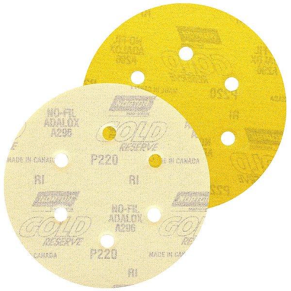 Caixa com 100 Disco de Lixa Pluma A296 Gold com 6 Furos Grão 220 152 x 0 x 6 mm