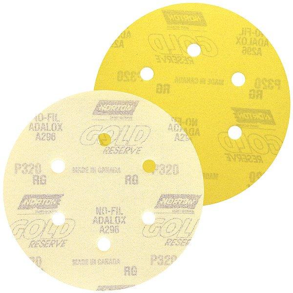 Caixa com 100 Disco de Lixa Pluma A296 Gold com 6 Furos Grão 320 152 x 0 x 6 mm