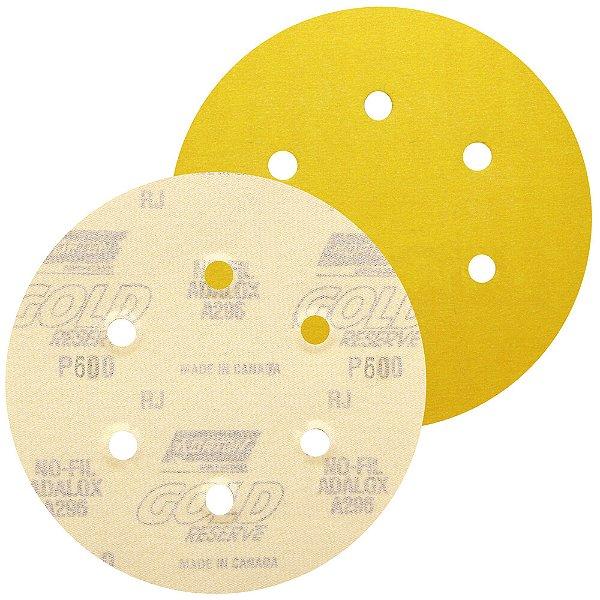 Caixa com 100 Disco de Lixa Pluma A296 Gold com 6 Furos Grão 600 152 x 0 x 6 mm