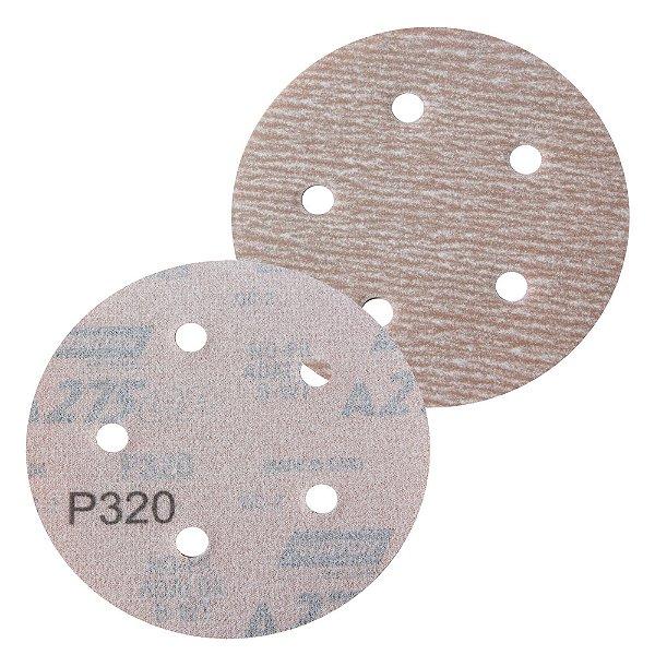 Caixa com 100 Disco de Lixa Pluma Speed-Grip A275 com 5 Furos Grão 320 127 x 0 x 5 mm