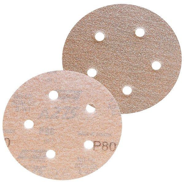 Caixa com 100 Disco de Lixa Pluma Speed-Grip A275 com 5 Furos Grão 80 127 x 0 x 5 mm