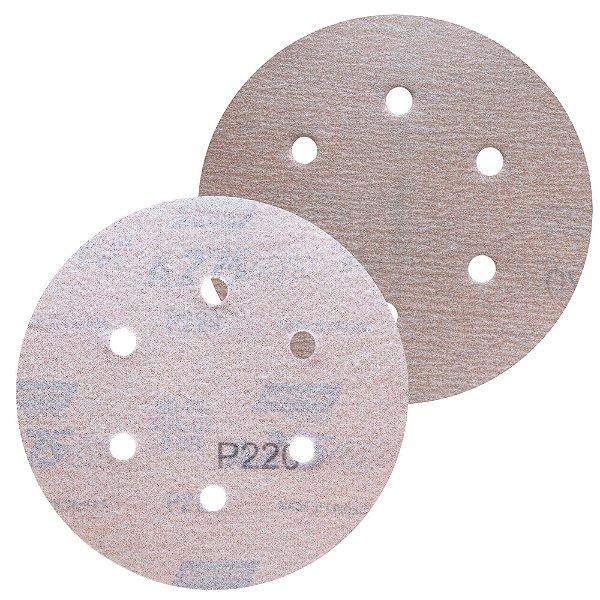 Caixa com 100 Disco de Lixa Pluma Speed-Grip A275 com 6 Furos Grão 220 152 x 0 x 6 mm