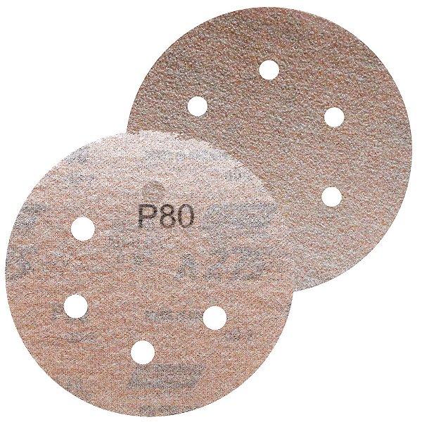 Caixa com 100 Disco de Lixa Pluma Speed-Grip A275 com 6 Furos Grão 80 152 x 0 x 6 mm