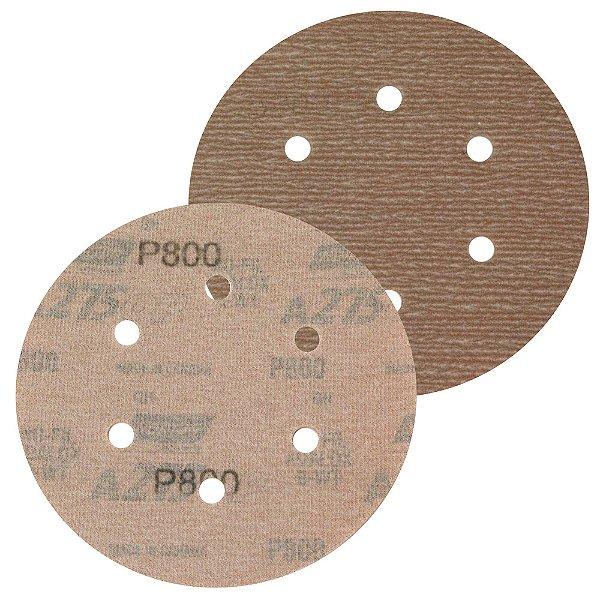 Caixa com 100 Disco de Lixa Pluma Speed-Grip A275 com 6 Furos Grão 800 152 x 0 x 6 mm