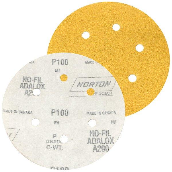 Caixa com 100 Disco de Lixa Pluma Speed-Grip A290 com 6 Furos Grão 100 152 x 0 x 6 mm