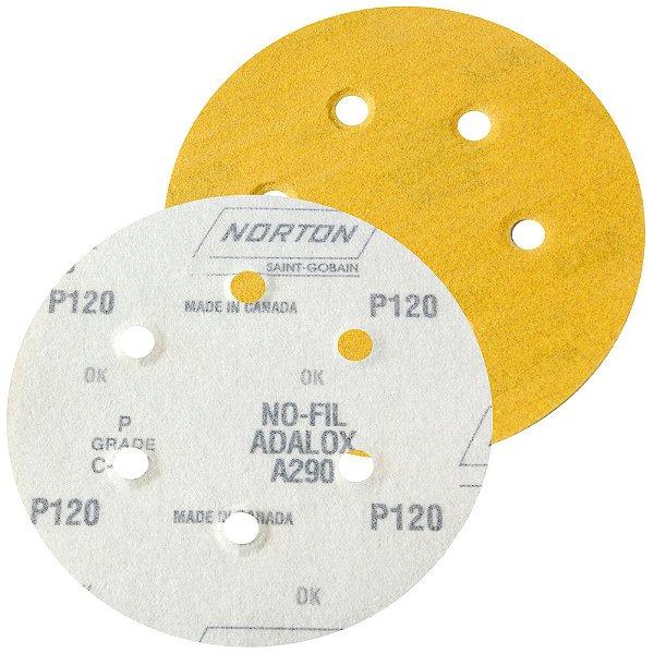Caixa com 100 Disco de Lixa Pluma Speed-Grip A290 com 6 Furos Grão 120 152 x 0 x 6 mm