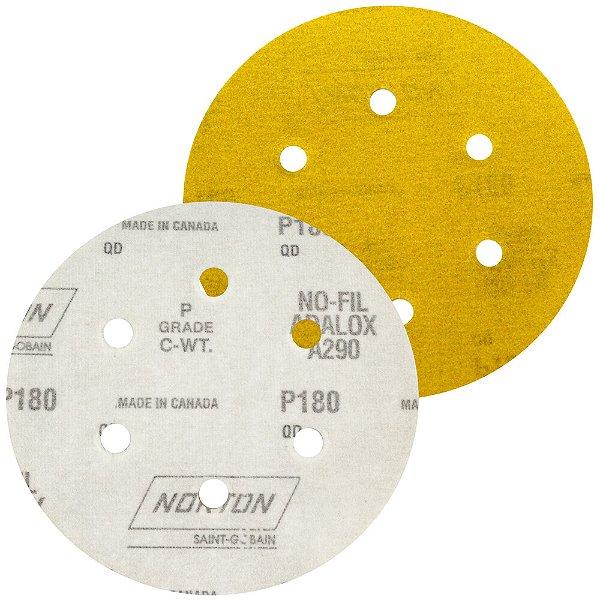 Caixa com 100 Disco de Lixa Pluma Speed-Grip A290 com 6 Furos Grão 180 152 x 0 x 6 mm