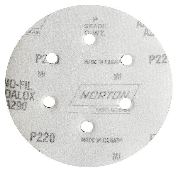 Caixa com 100 Disco de Lixa Pluma Speed-Grip A290 com 6 Furos Grão 220 152 x 0 x 6 mm