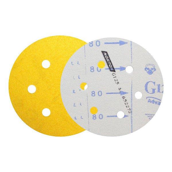 Caixa com 50 Discos de Lixa Pluma Speed-Grip Adalox Papel G125 com 6 Furos Grão 80 152 x 0 x 6 mm