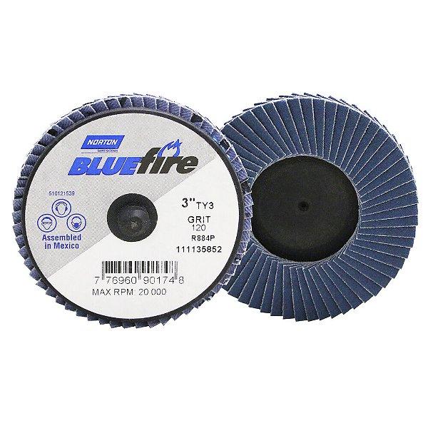 Caixa com 10 Disco Flap BlueFire Mini R884P Grão 120 76,2 mm
