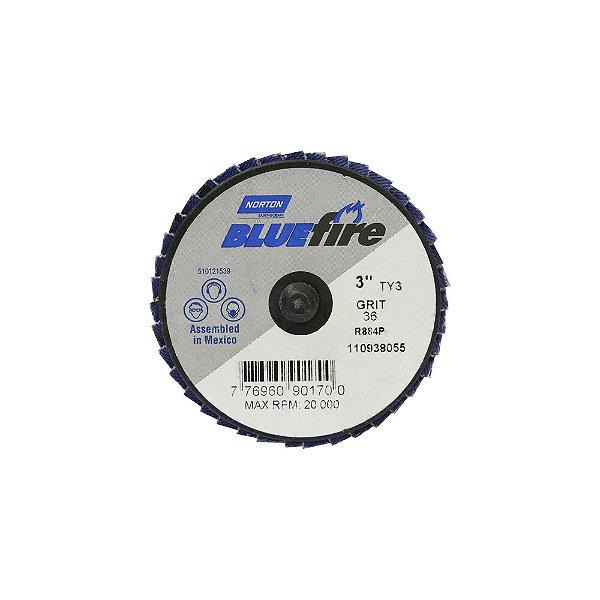 Disco Flap BlueFire Mini R884P Grão 36 76,2 mm Caixa com 10