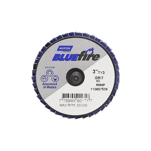 Disco Flap BlueFire Mini R884P Grão 40 76,2 mm Caixa com 10