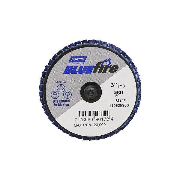 Disco Flap BlueFire Mini R884P Grão 60 76,2 mm Caixa com 10