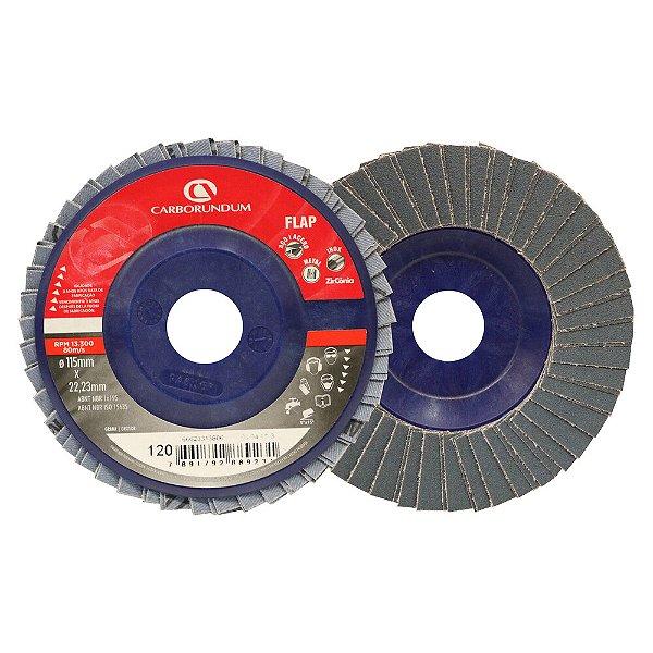 Caixa com 10 Disco Flap Carbo CAR82 Grão 120 115 x 22 mm