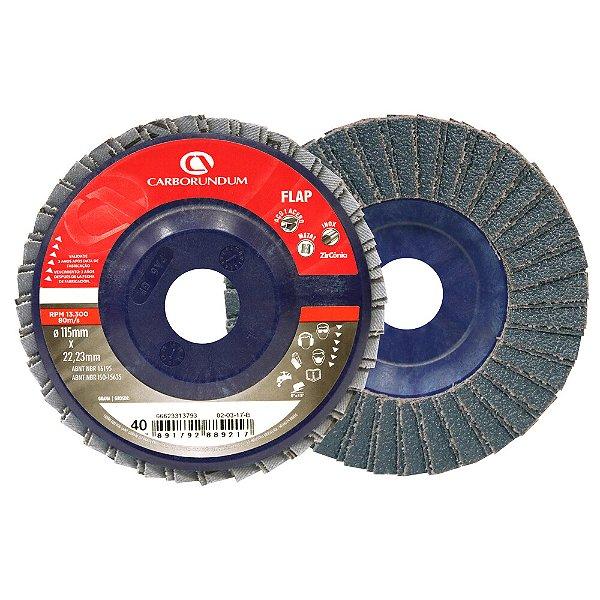 Caixa com 10 Disco Flap Carbo CAR82 Grão 40 115 x 22 mm