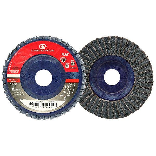 Caixa com 10 Disco Flap Carbo CAR82 Grão 50 115 x 22 mm