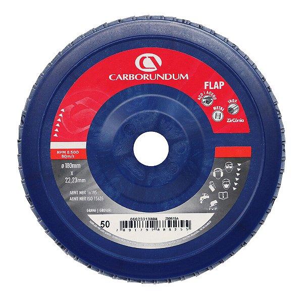 Caixa com 5 Disco Flap Carbo CAR82 Grão 50 180 x 22 mm