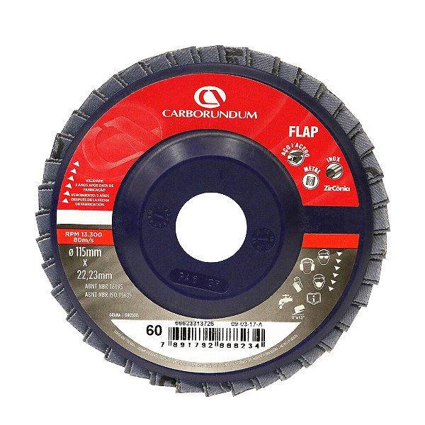 Disco Flap Carbo CAR82 Grão 60 115 x 22 mm Caixa com 10