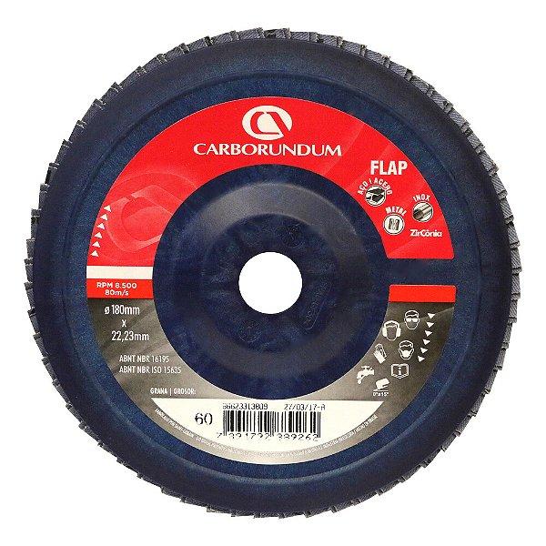 Caixa com 5 Disco Flap Carbo CAR82 Grão 60 180 x 22 mm