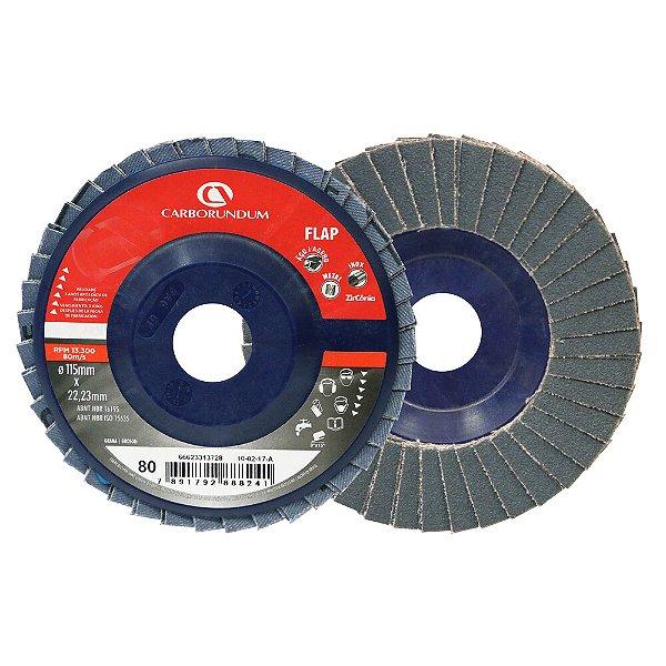 Caixa com 10 Disco Flap Carbo CAR82 Grão 80 115 x 22 mm