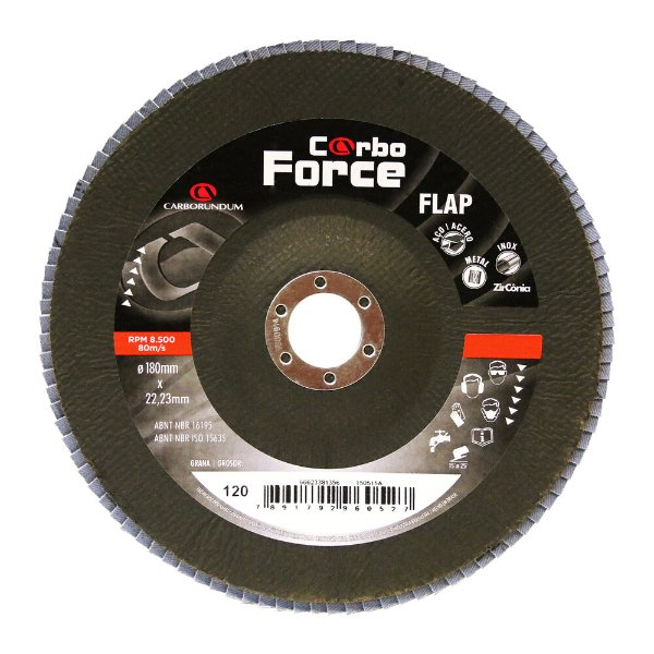 Caixa com 5 Disco Flap Carboforce LTF Grão 120 180 x 22 mm