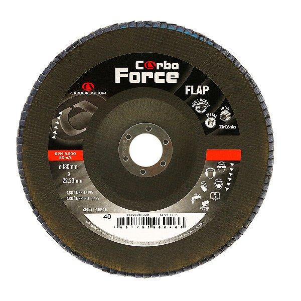 Disco Flap Carboforce LTF Grão 40 180 x 22 mm Caixa com 5