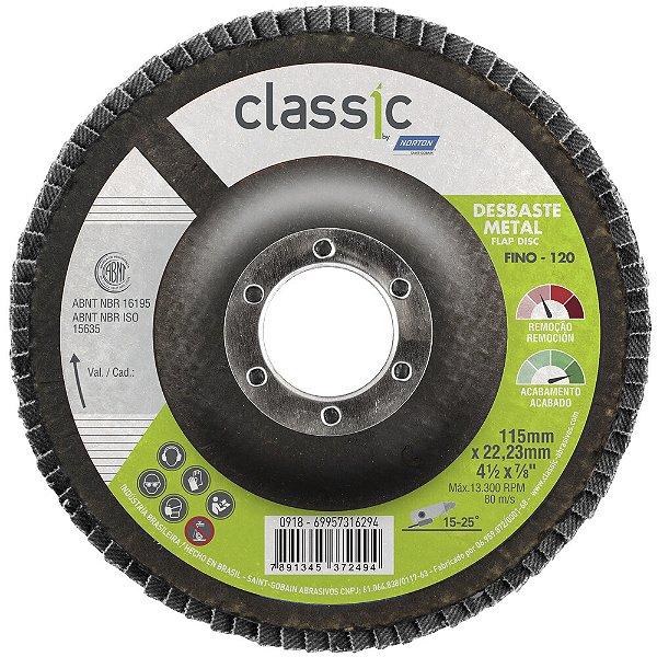 Caixa com 10 Disco Flap Classic Basic R801 Grão 120 115 x 22,23 mm