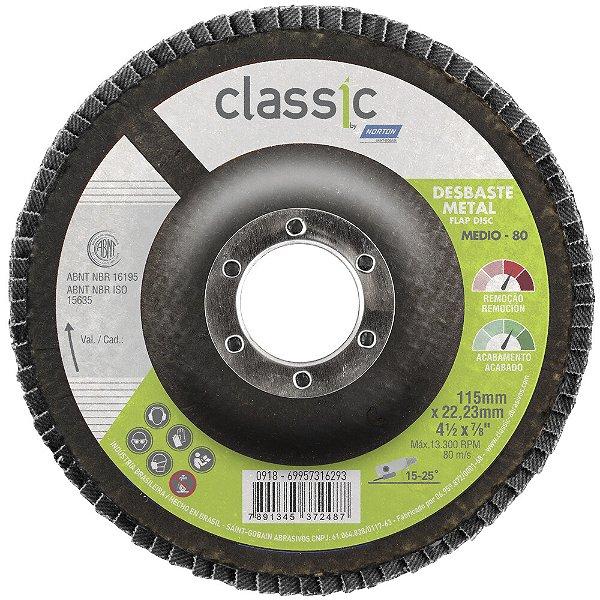 Caixa com 10 Disco Flap Classic Basic R801 Grão 80 115 x 22,23 mm