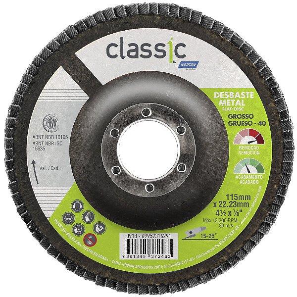 Caixa com 10 Disco Flap Classic R801 Grão 40 115 x 22,23 mm