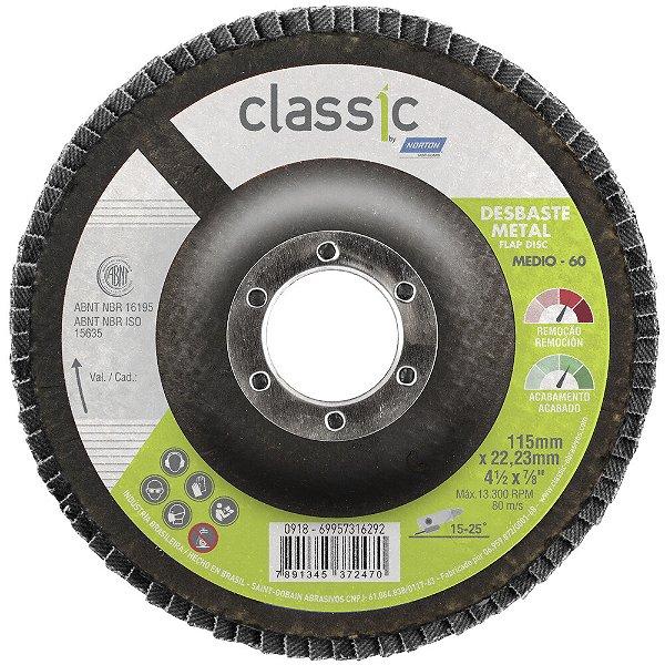 Caixa com 10 Disco Flap Classic R801 Grão 60 115 x 22,23 mm