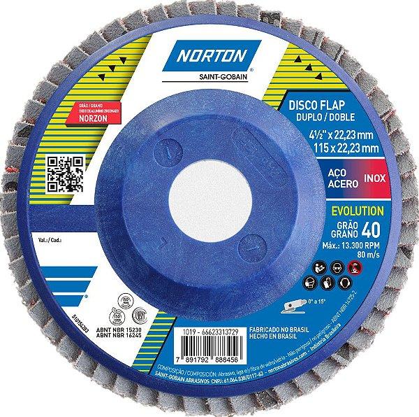 Caixa com 10 Disco Flap Evolution R822 Grão 40 115 x 22,23 mm