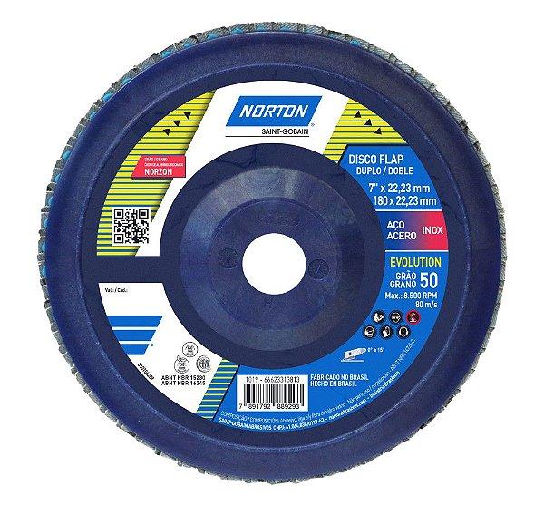 Caixa com 5 Disco Flap Evolution R822 Grão 50 180 x 22,23 mm