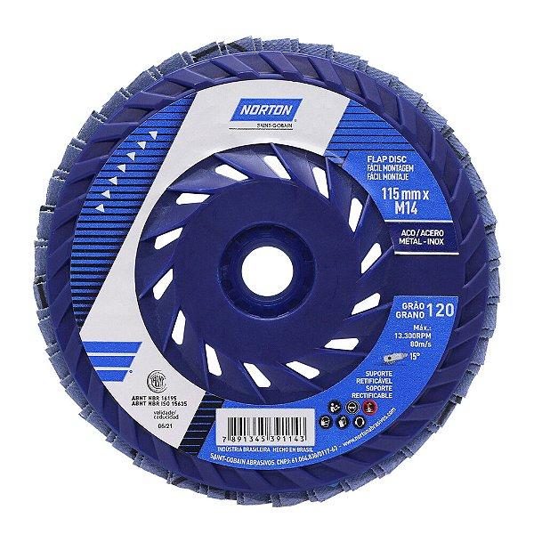 Caixa com 10 Disco Flap Fácil Montagem R822 Grão 120 115 x 22,23 mm