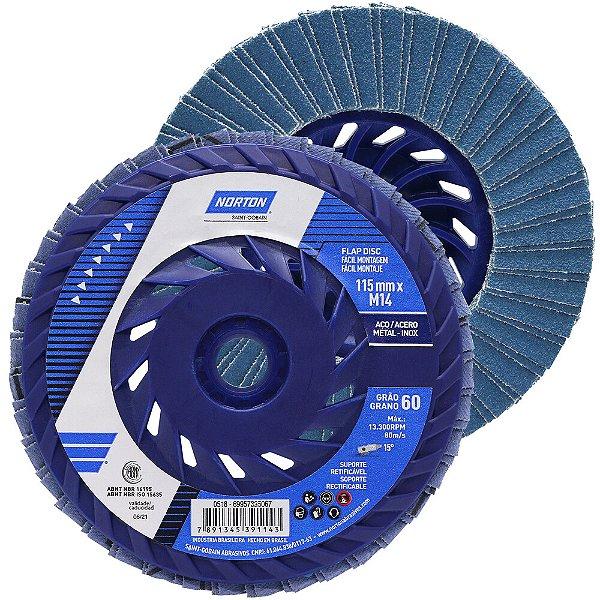 Caixa com 10 Disco Flap Fácil Montagem R822 Grão 60 115 x 22,23 mm