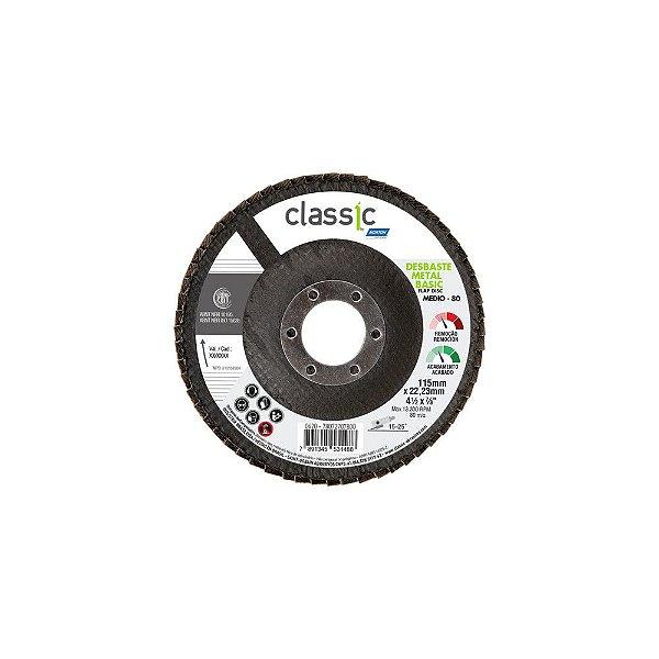Caixa com 10 Disco Flap Classic Basic Fibra Grão 80 115 x 22,23 mm