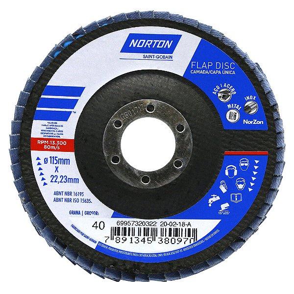 Disco Flap Original R822 Grão 40 115 x 22,23 mm Caixa com 10