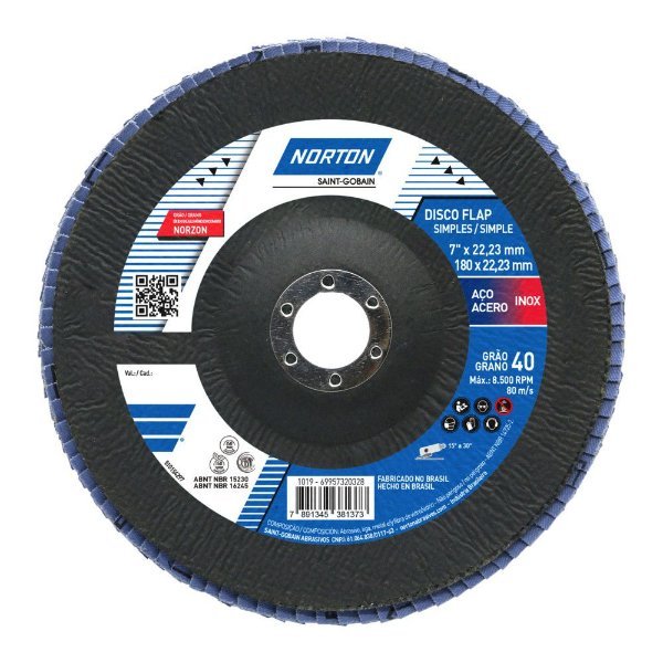 Caixa com 5 Disco Flap Original R822 Grão 40 180 x 22,23 mm