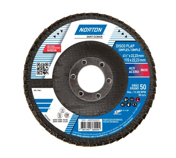 Caixa com 10 Disco Flap Original R822 Grão 50 115 x 22,23 mm