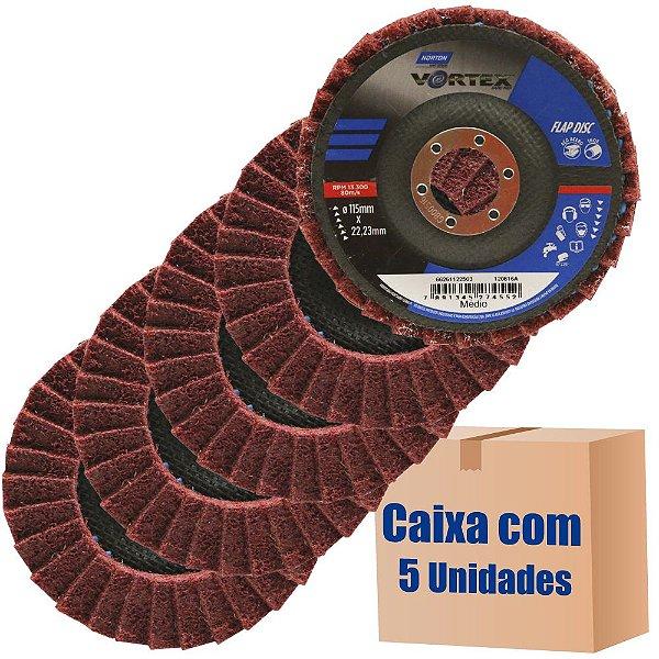 Caixa com 5 Disco Flap Vortex Médio Vermelho 115 x 22 mm