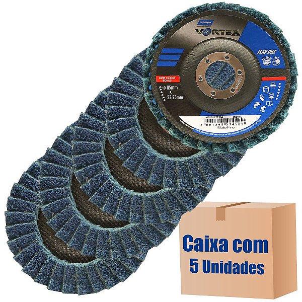 Caixa com 5 Disco Flap Vortex Muito Fino Azul 115 x 22 mm