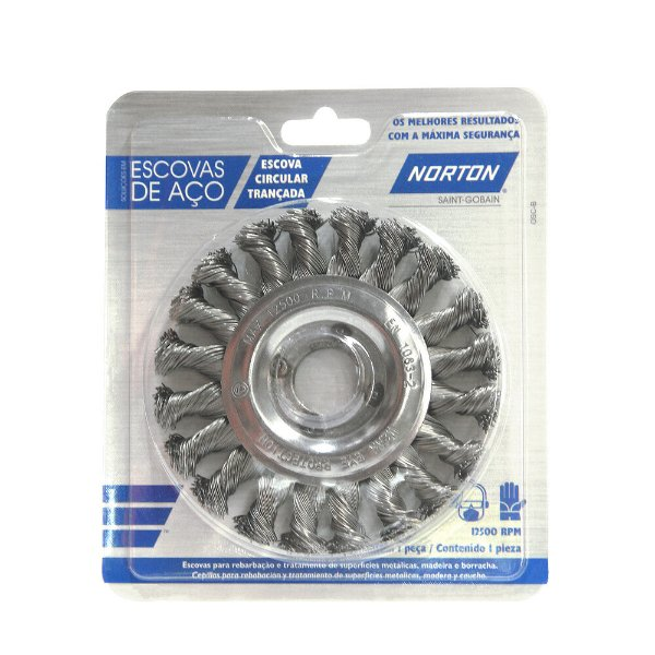 Caixa com 10 Escova Circular Trançada Aço Temperado 114,3 x 12,7 mm