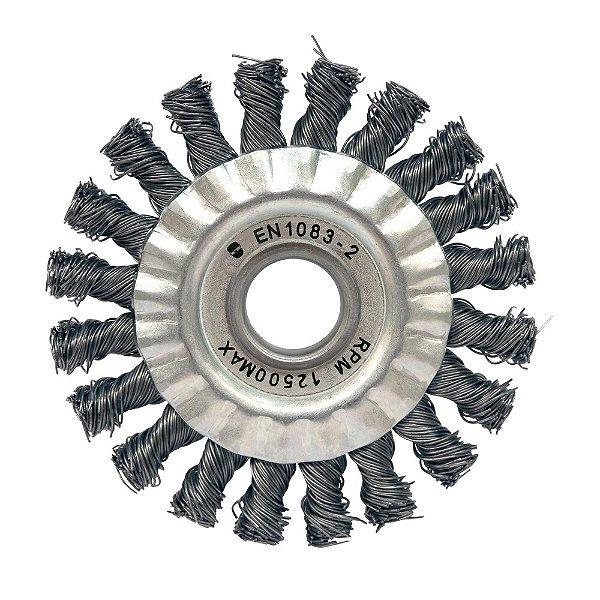 Caixa com 5 Escova Circular Trançada Aço Temperado 114,3 x 12,7 mm
