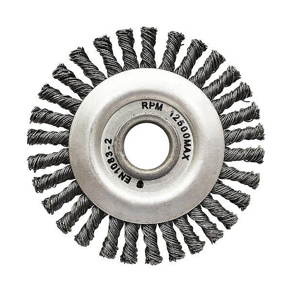 Caixa com 10 Escova Circular Trançada Aço Temperado 114,3 x 6,35 mm