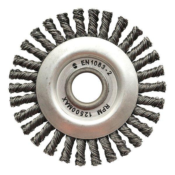 Caixa com 50 Escovas Circular Trançada Aço Temperado 114,3 x 6,35 mm