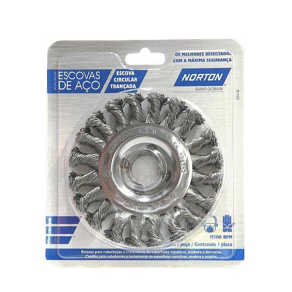 Caixa com 10 Escova Circular Trançada Temperado 114,3 x 12,7 mm