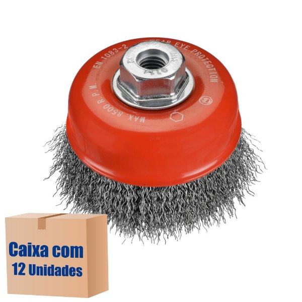 Caixa com 12 Escova Copo Ondulado D100 Inox 030 GM14 100 x M14