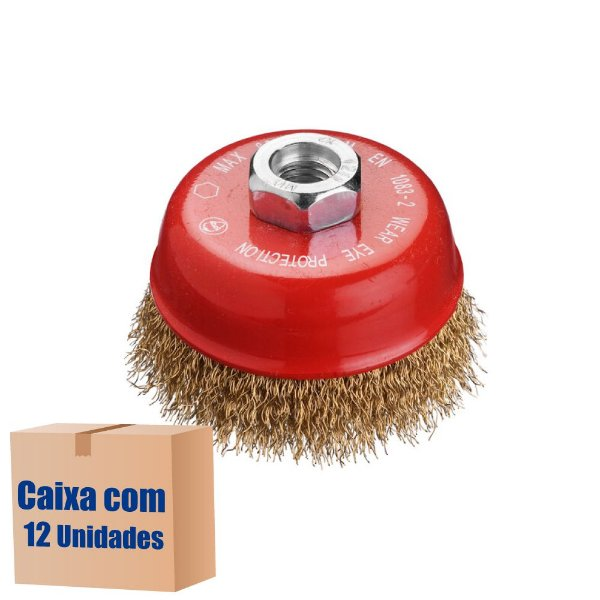 Caixa com 12 Escova Copo Ondulado D100 Latão 030 GM14 100 x M14