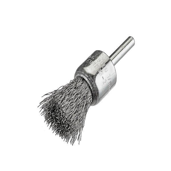 Caixa com 12 Escova de Aço D25 Aço Pincel Ondulado 030 T25 Alta Rotação 17 x 06 mm com Haste